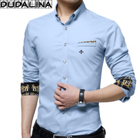 DUDALINA 100 Cotton Men Clothes Slim Fit Men Long Sleeve Shirt Decorated Pocket Casual Men Social