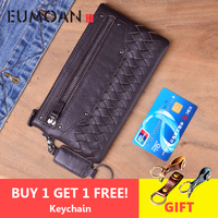 EUMOAN Large capacity original handmade genuine leather wallet men and women casual retro leather wallet Japanese style hipster