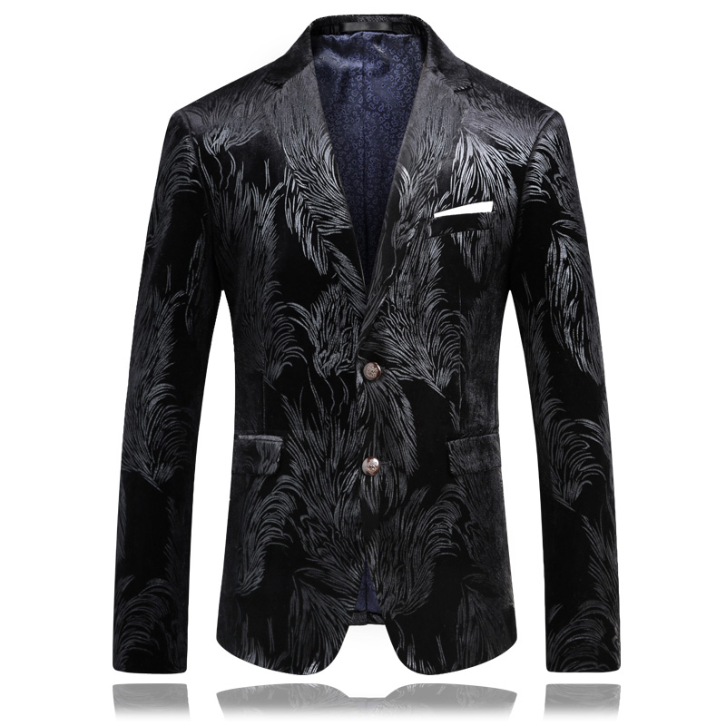 2017 Men's Italian style printed velveteen casual blazer men blazers,casual jacket men High quality suit jacket size M-4XL