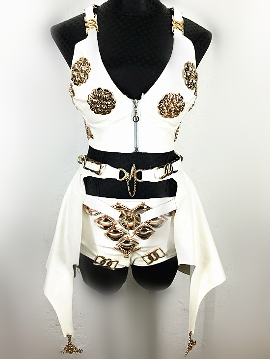 2016 New Arrival Stage Show Nightclub Wear Female Singer Dj Costume White Pu Genuine Leather Triangle Three Piece Set Costumes Sale Price