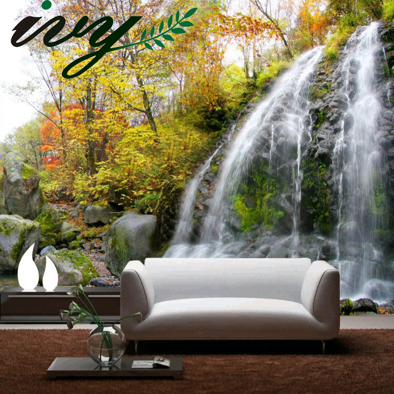 Custom 3d photo 3d papel de parede beautiful waterfall design 3d wallpaper 3d wall paper mural useage living room tv background custom photo wallpaper large mural wall stickers 3d stereo digital english living room tv wall papel de parede