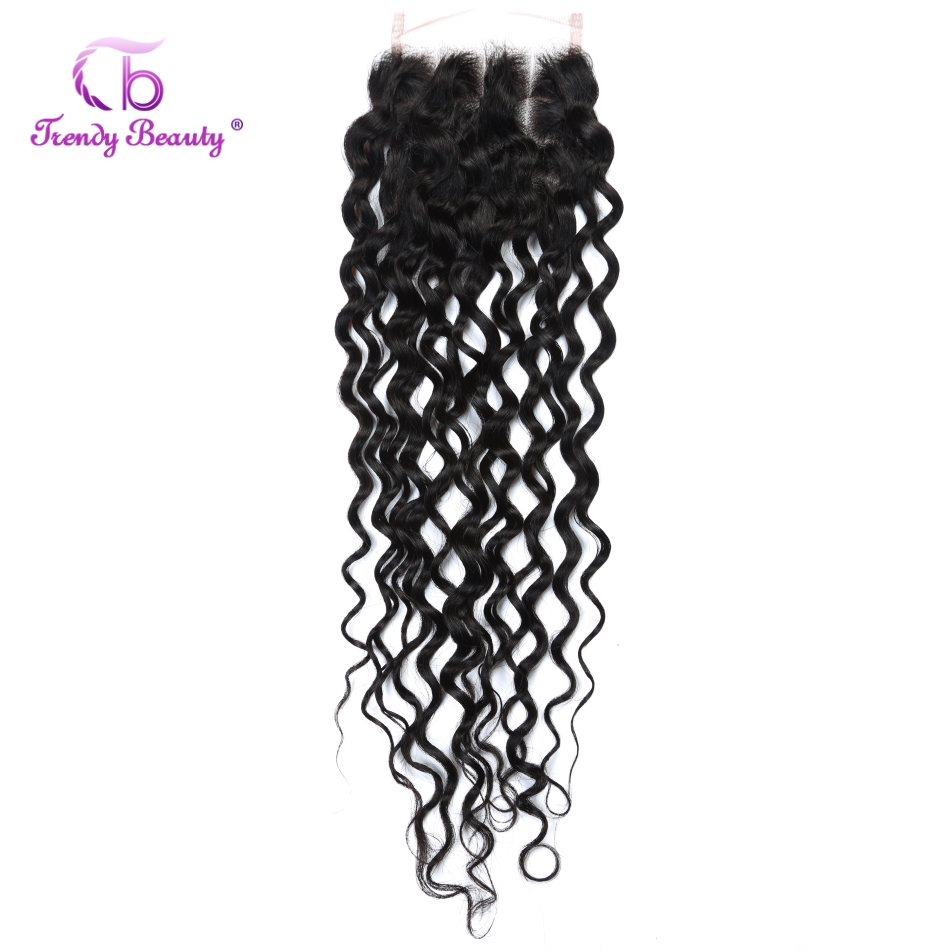 Trendy Beauty Hair Peruvian Water Wave Lace Closure 100% human hair 4x4 inches Lace Free/Middle/Three Part free <font><b>ship</b></font> 8-22 inches image