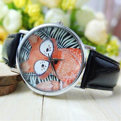 Unisex Mens Womens Lovers Black White Stripe Fox Dial Faux Leather Analog Quartz Wrist Watch  5UX1