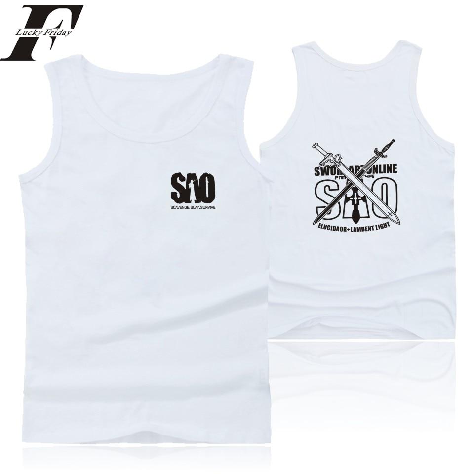 Sword Art Online Cartoon Sleeveless Tank Top Men women Summer Black blous shirt Japan Anime fitness Bodybuilding Tank Tops Vest