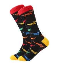LETSBUY men's socks combed cotton Jacquard cartoon animal dinosaur cactus penguin male business dress crew socks wedding gift so