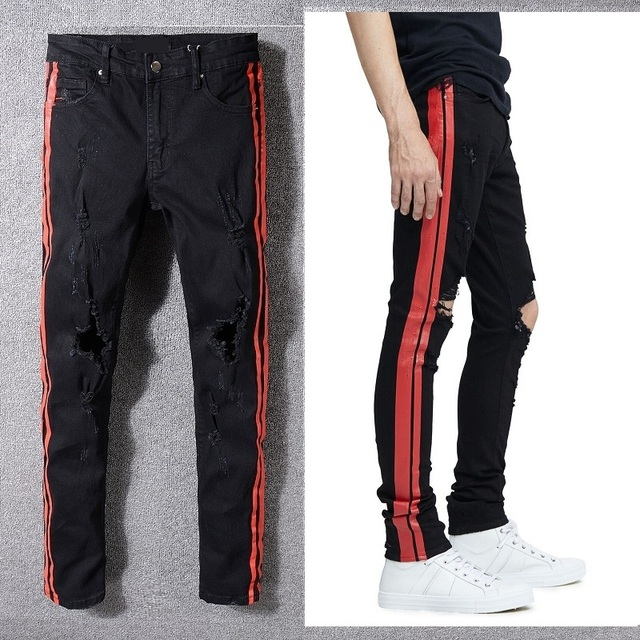 New Italy Style #5333# Men's Distressed Hollow Out Pants Red Sides Black Denim Skinny Jean Slim Trousers Causaul Pant Size 28-40