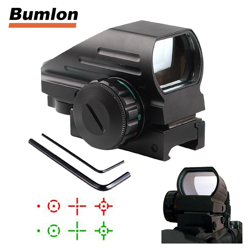 New 4 Reticle Tactical Reflex Red/Green Laser Holographic Projected Dot Sight Scope Airgun Rifle Sight Hunting Rail Mount 5-0032