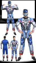 Купить с кэшбэком High Quality Optimus Prime Bumblebee Halloween Costume for Men Muscle Jumpsuits Mask Adult Cosplay Costume Masquerade Clothes