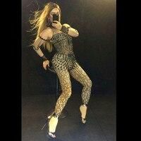 Пикантные черные стразы боди Ночной клуб DJ певица костюмы женские блестящие кристалл комбинезон сцена наряд комбинезон