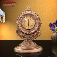 2018 TUDA Resin Round Desktop Clock Goldern Table Clock Desk Clock Retro Resin Clock