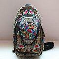 Flor bordado mulheres crossbody bolsa de ombro mochilas casuais lona para todos os fins de etnia Chinesa estilo saco peito
