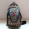 Flower embroidered canvas all purpose women crossbody shoulder bag casual backpacks Chinese ethnic style chest bag