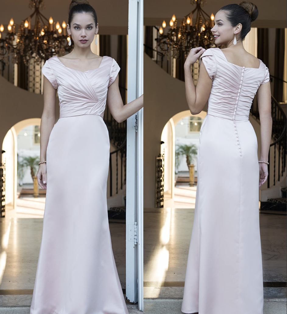 Modest Wedding Dresses 2019: Blushing Pink Long Modest Bridesmaid Dresses 2019 With Cap