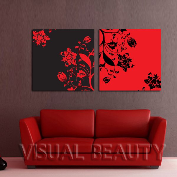 FREE SHIPPING Beautiful Flowers Canvas Art Easy For Pictures Oil Painting PaintingUnframed 50x50cmx2pcs In Calligraphy From Home
