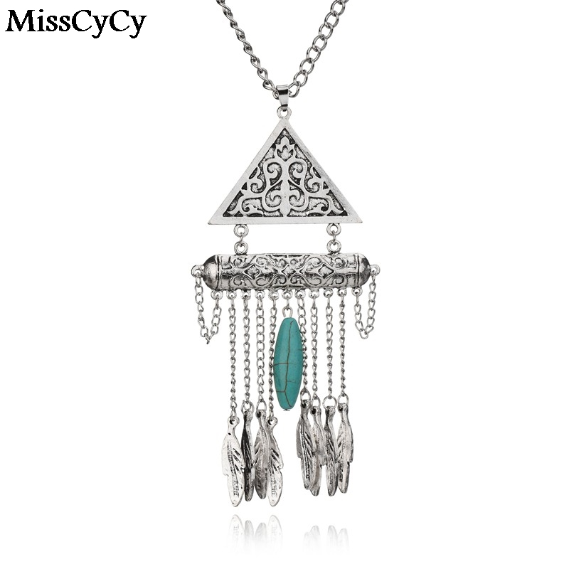 LZ Jewelry Hut MissCyCy Statement Jewelry Ethnic Bohemia Carved Triangle  Leaves Tassel Women Necklaces  Pendants