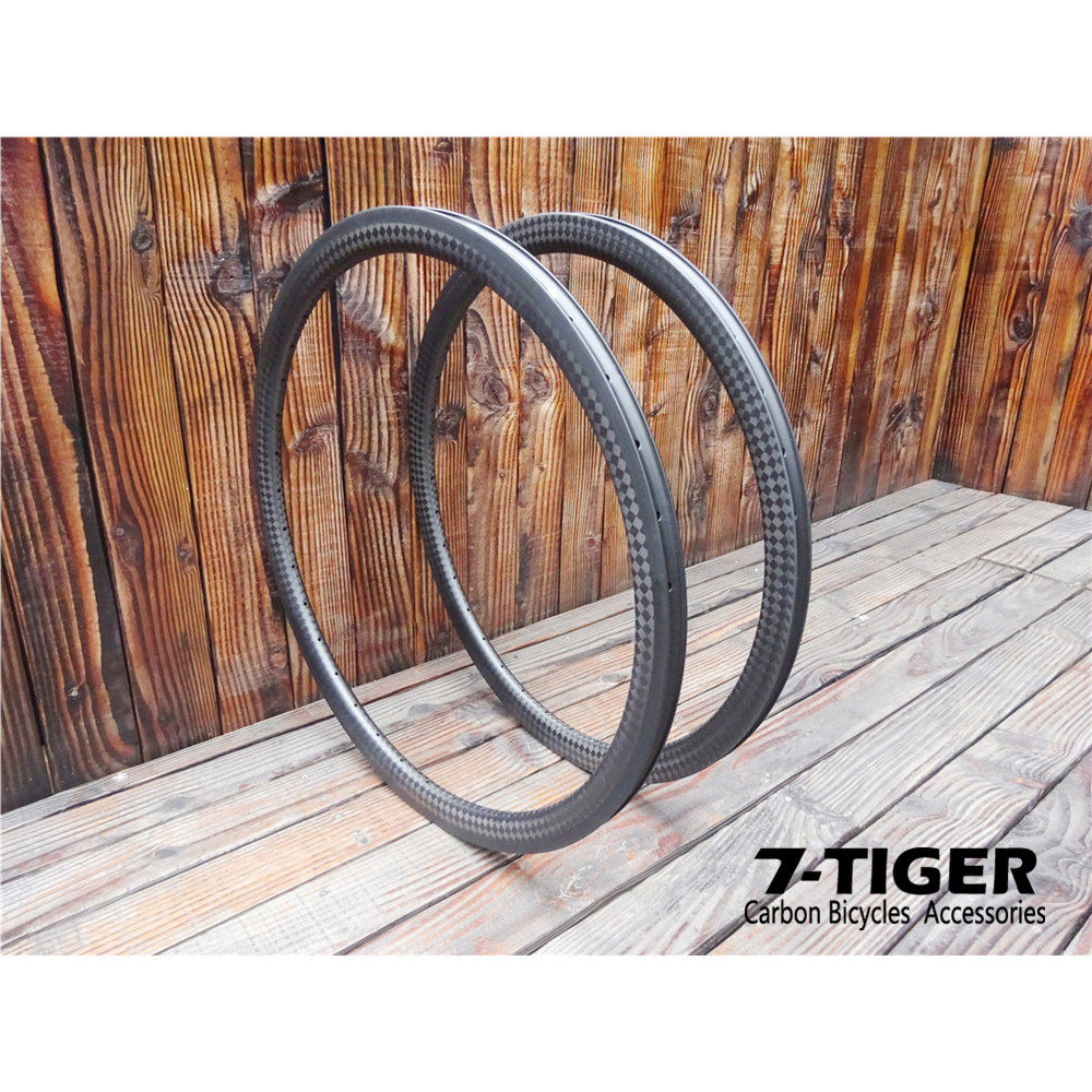 7-tiger cyclocross bike 24 carbon rims 38 mm clincher 507 bike wheelset rim 12k matte7-tiger cyclocross bike 24 carbon rims 38 mm clincher 507 bike wheelset rim 12k matte