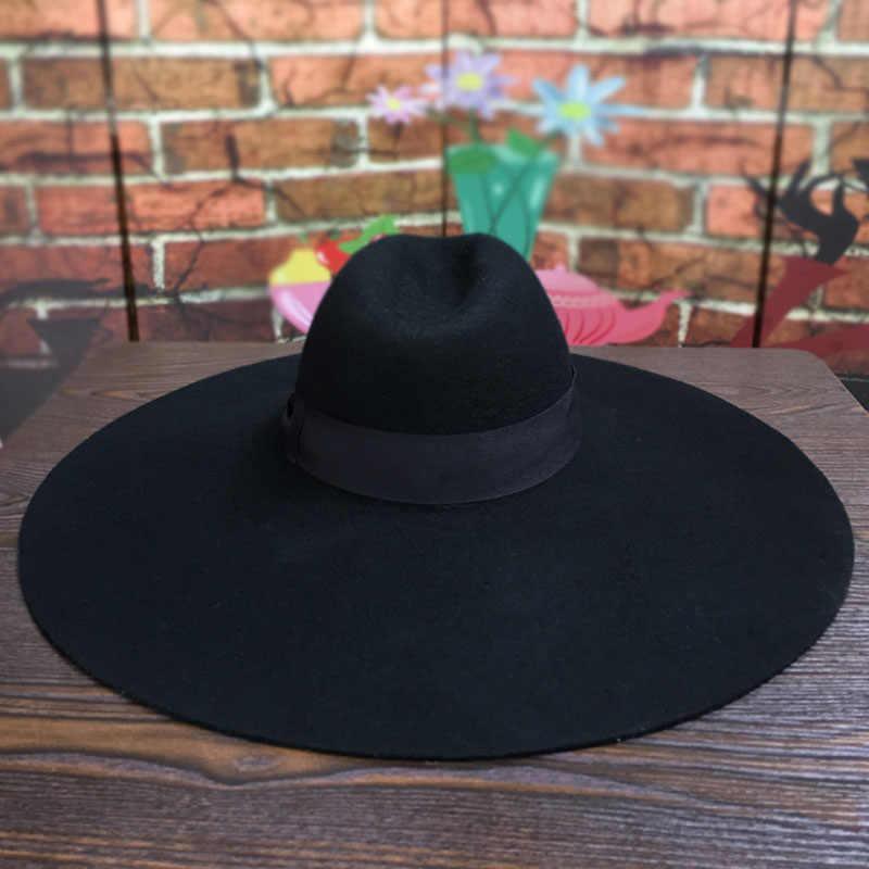 여자 16cm 큰 와이드 브림 울 펠트 모자 세련된 플로피 따뜻한 겨울 Trilby 모자 리본 Bowknot 교회 드레스 웨딩 페도라 재즈 모자