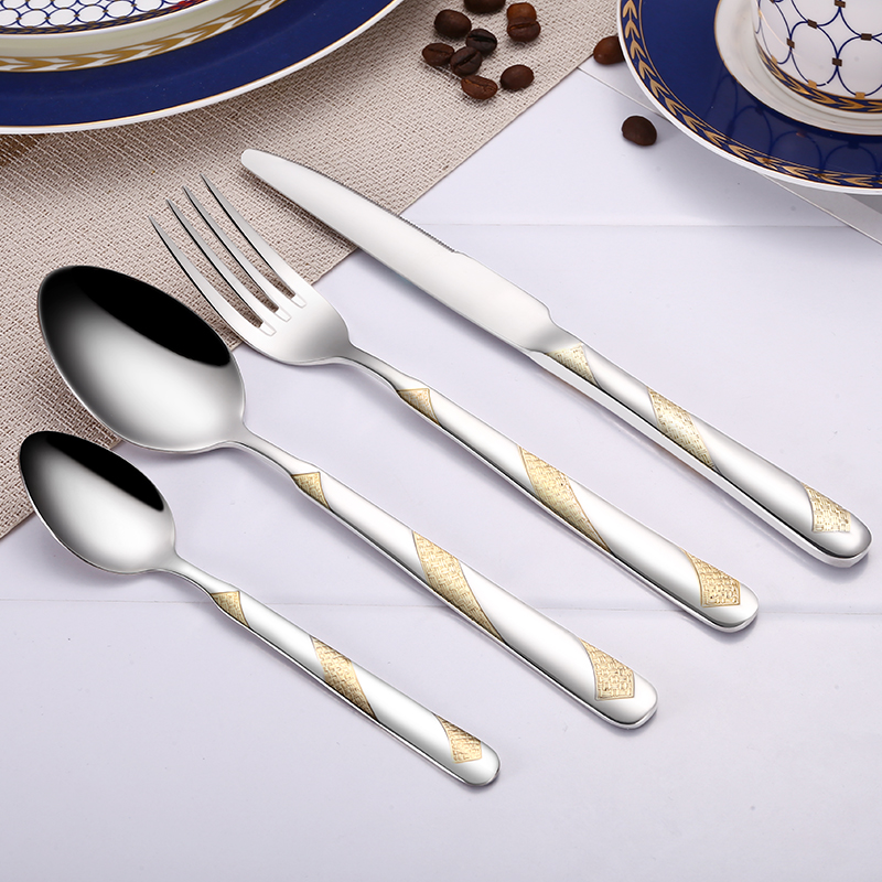 24Pcs Stainless Steel Gold Plated Cutlery Set Dinnerware Tableware Silverware Dishwasher Safe  Dinner Fork Knife Drop Shipping 2