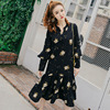 Real Photo Spring New Style Pregnant Out Of Lactation Long Dress Button To Unlock Breastfeeding