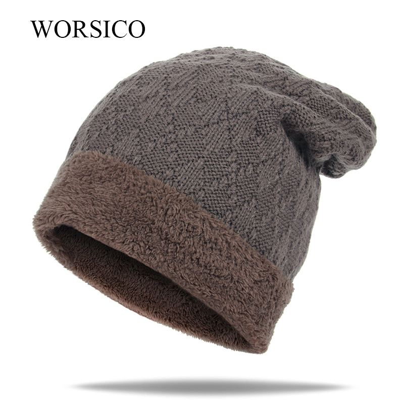 WORSICO Autumn Winter Bonnet Hats For Men Skullies Beanie Casual Knitted Hat Fashion Caps Mask Wool Bone Hat Outdoor Warm brand winter beanies men knitted hat winter hats for men warm bonnet skullies caps skull mask wool gorros beanie 2017