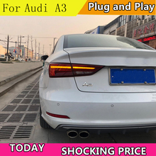 Car Styling Taillights For Audi A3 2014-2019 LED Dynamic turn signal TailLight Rear Light LED Brake+Park+Moving Turn Signal Lamp hireno tail lamp for audi a6 c5 2001 2002 2003 led taillight rear lamp parking brake turn signal lights