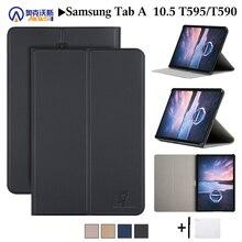 Lederen Cover Case Voor Samsung Galaxy Tab Een 10.5 2018 SM T590 T595 T597 Stand Beschermende Huid Voor Samsung Galaxy Tab een 2018