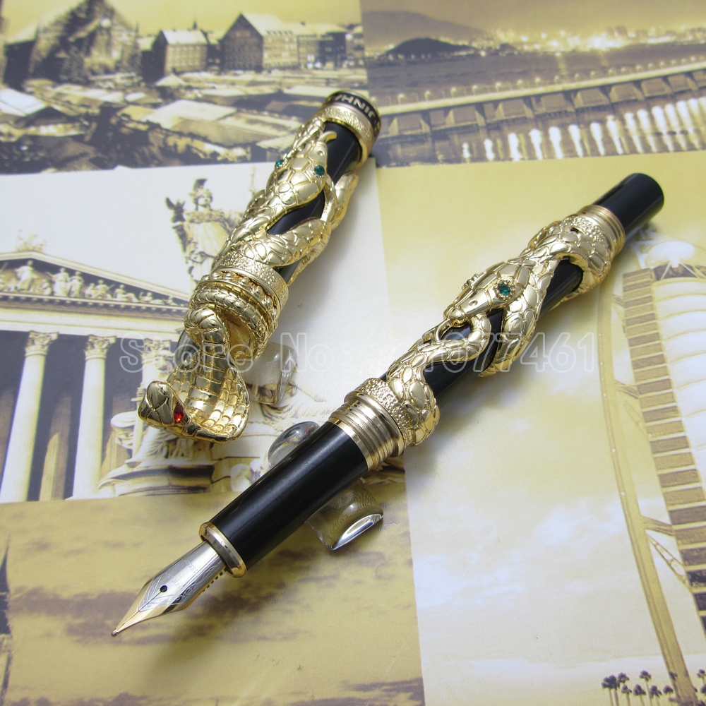 jinhao snake type Fountain Pen with gift box White 3d-model Cobra  White Black Gold Optional J15U59 550 554 model pen bamboo pen fountain sets gift for christmas new year wedding gift pen