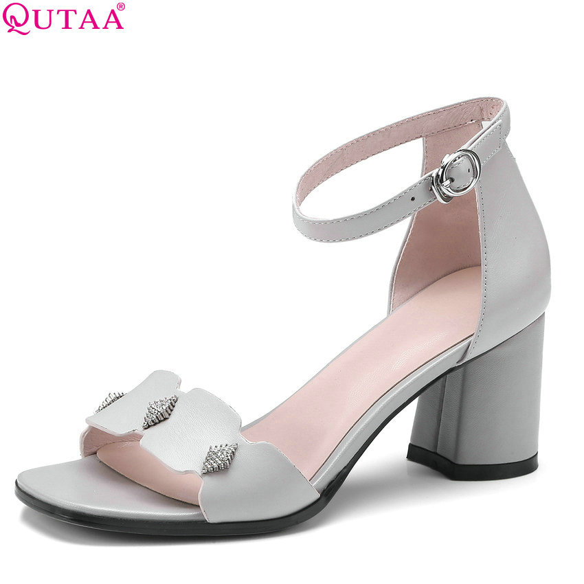 QUTAA 2018 Women Sandals Square High Heel Women Shoes Out Door Genuine Leather Simple Summer Sandals Women Sandals Size 34-42 classic leather sandals classic leather sandals women sandals summer sandals