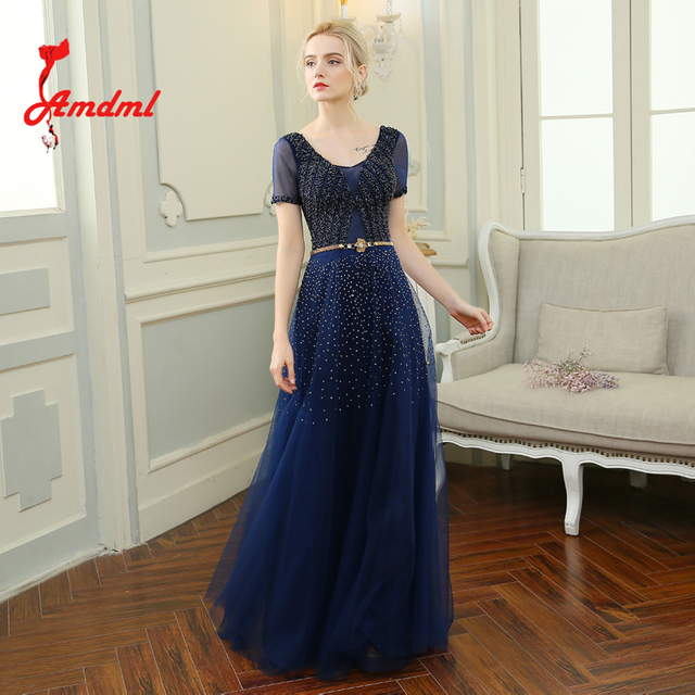 Amdml Classic Navy Beaded A-Line Tulle Evening Dresses 2017 Sexy Neckline Luxury Metal Belt Formal Dresses For Evening Party