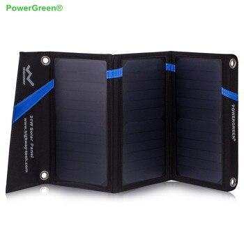 PowerGreen Foldable Solar Charger 21W 5V 2A SUNPOWER Solar Panel External Battery Energy Pack for Phone