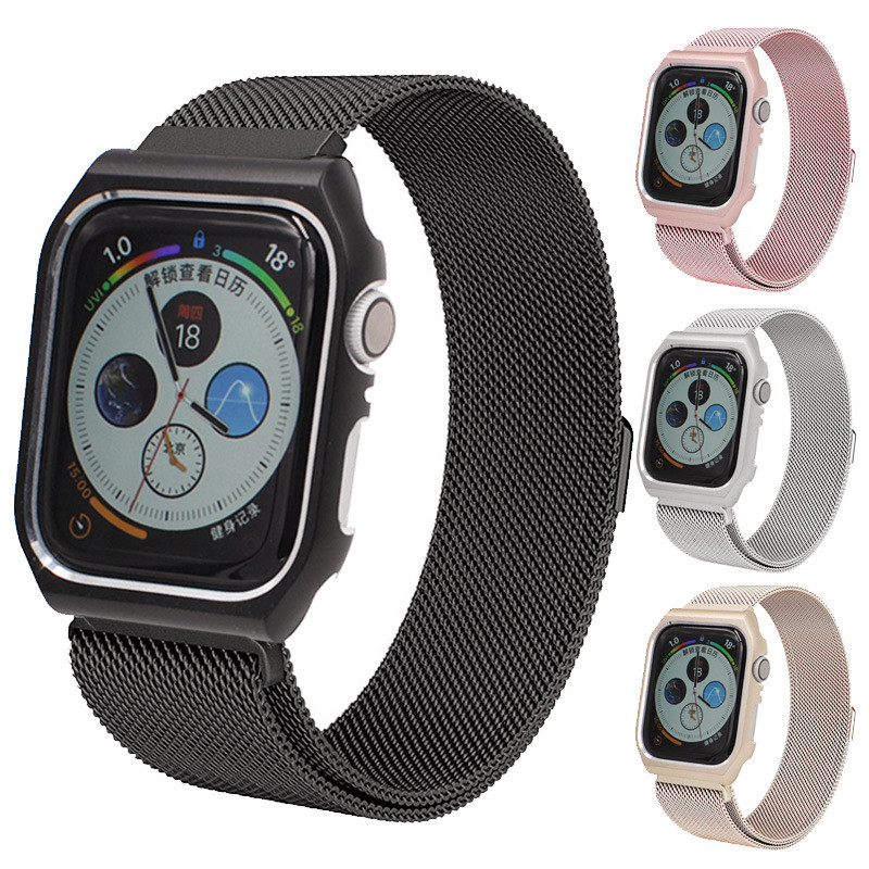 Milanese Loop band + case for Apple Watch 44mm 40mm Stainless Steel strap bracelet for iwatch series 4  bands