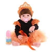 KAYDORA 22'' 55cm Doll Baby Real Lifelike Newborn Silicone Vinyl Reborn Gift Little Girl Love Doll Bathable Reborn