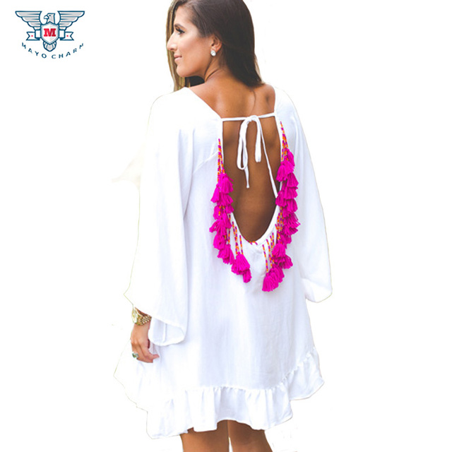 8a52eb45f566a Vestidos Sexy Ruffles Women Dress Summer Backless Pareo Dresses Party Short  Mini Beach Tunic Tassel Beads