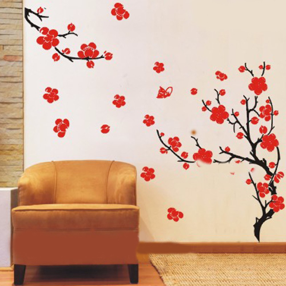 Plum Blossom Flowers Wall Stickers Plum Tree With Two Branches Wall
