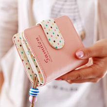 Women Lady girls Mini Short Letter PU Dot Leather Bifold Wallet Clutch Card Holders Purse Button Buckle Handbag