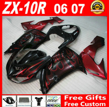 Factory outlet for 06 07 hot sale Kawasaki ZX10R fairings 2006 2007 black with red flames ninja ZX-10R motobike fairing kit