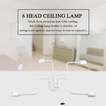 Simple Industrial 6 Heads Ceiling Lamp Holder Sturdy Iron Construction Home Accessories lamp holder lamp socket toilet seat