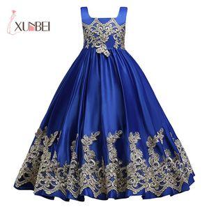 Image 2 - Royal Blue Long Summer Girl Dresses Big Bow Flower Girl Dresses Gold Applique Girls Pageant Dress First Communion Dresses
