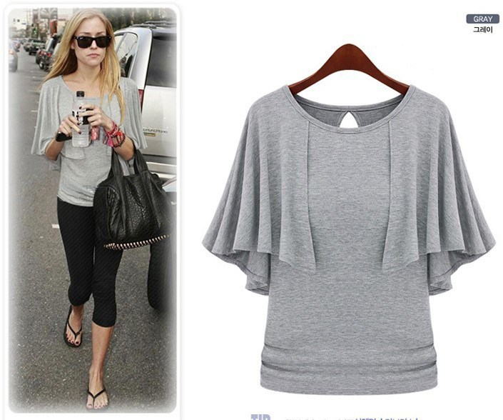 8d9c2812bf Oxiuly Dropshipping 2015 top quality fashion Women cotton Lady sexy Ruffles  O Neck t Shirt tops-in T-Shirts from Women's Clothing & Accessories
