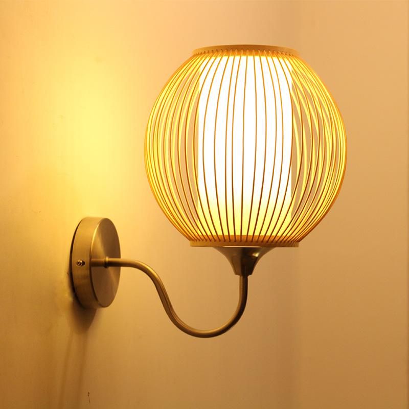 de bamb de estilo chino dormitorio lmpara de noche lmpara de pared del jardn creativo moderno
