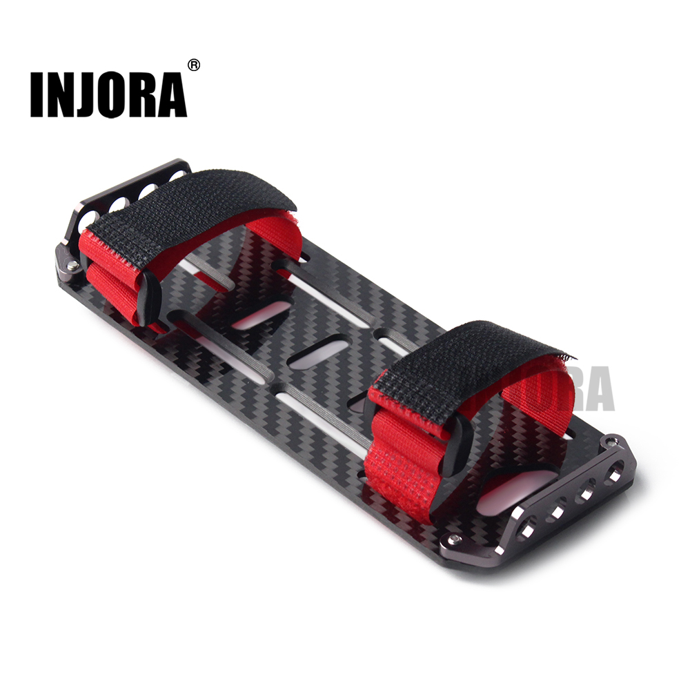 INJORA RC Car Carbon Fiber Battery Mounting Plate with Tie for 1/10 RC Crawler Car Axial SCX10 90046 tator rc 3k carbon fiber plate 3 5mm tl2900