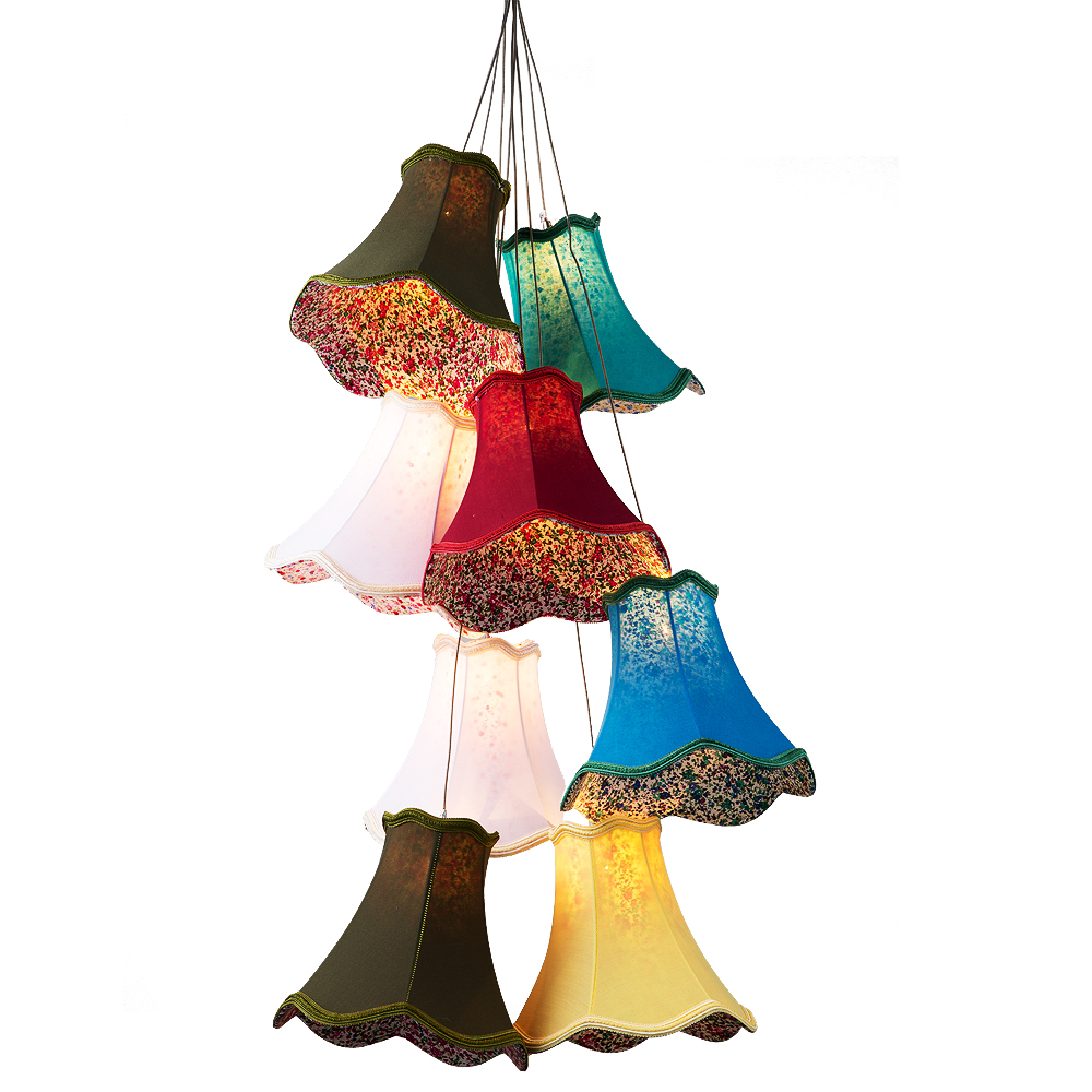 Moderne Cluster bunte stoff schatten G4 anhänger lampe lichter führte schnur/8 Köpfe DIY lichter schlafzimmer Mädchen kinder wohnzimmer zimmer - 2