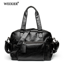 WEIXIER Mens Microfiber Synthetic Leather Casual Tote Bag Business Shoulder Computer Notebook Large Capacity