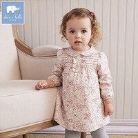 DB5514 Dave Bella Baby Girl Lolita Dress Stylish Printed Clothes Peter Pan Collar Dress Toddler Children