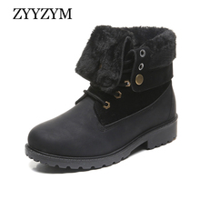 ZYYZYM Women Boots Winter Snow Plush Keep Warm Shoes Leather Mujer Botas Zapatos De Combat