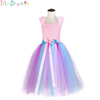 Bustle Unicorn LOL Costume Tutu Dress Summer Spring Girl Fluffy Chiffon Flowers Birthday Party Dresses Kids Halloween Clothes