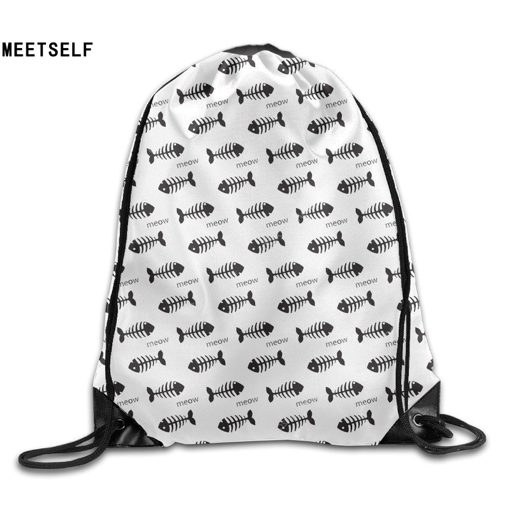 Samcustom 3d Print Fish Bone Shoulders Bag Women Fabric Backpack Girls Beam Port Drawstring Travel Shoes Dust Storage Bags