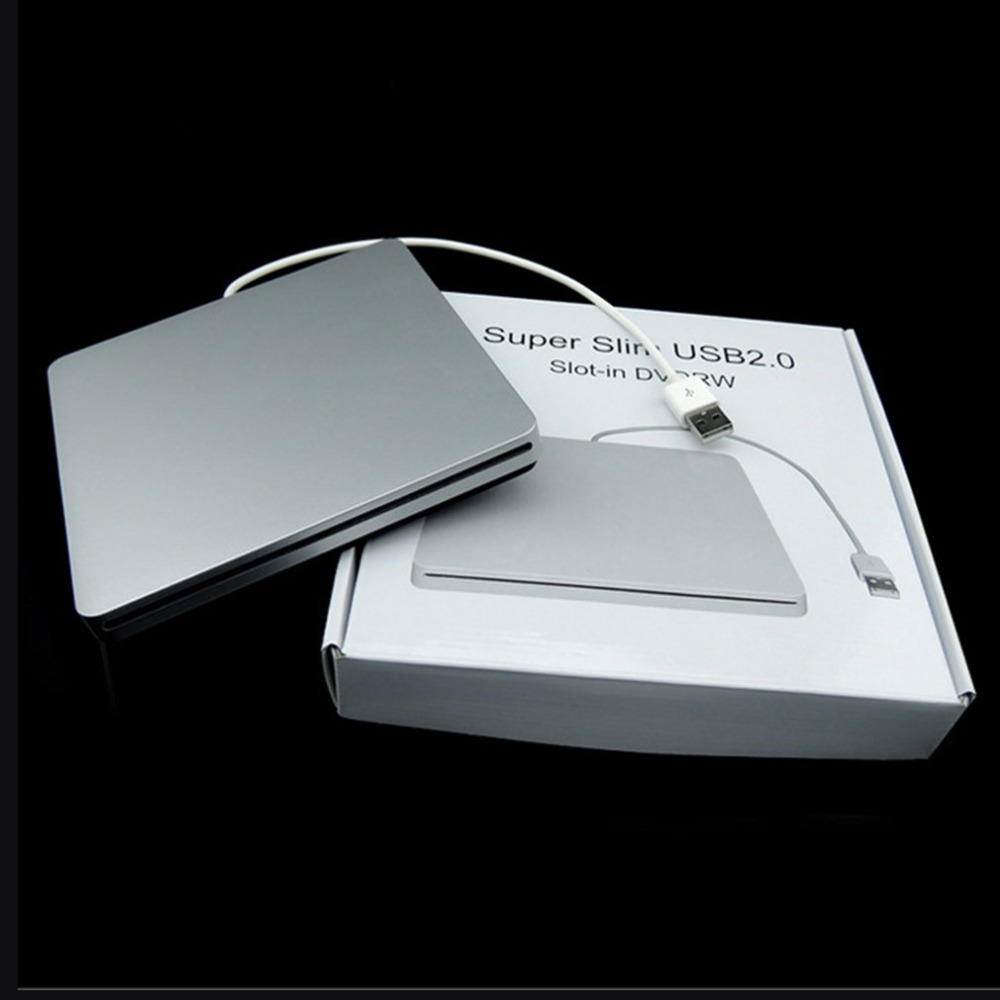 Laptop Type Suction Super Slim USB 2.0 Slot In External DVD Burner DVD-RW External Drives Box Enclosure Case