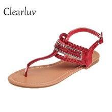 2019 Plus Size 36-41 Brand Summer Sandals Women Flat Shoes Female Simple Flip Toe Metal Sequins Decoration