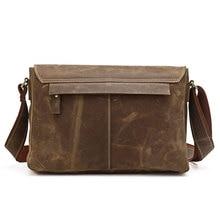 PASTE Hot Selling Crazy Horse Leather Men's Brown Shoulder Messenger Bag Crossbody with Logo 6002B